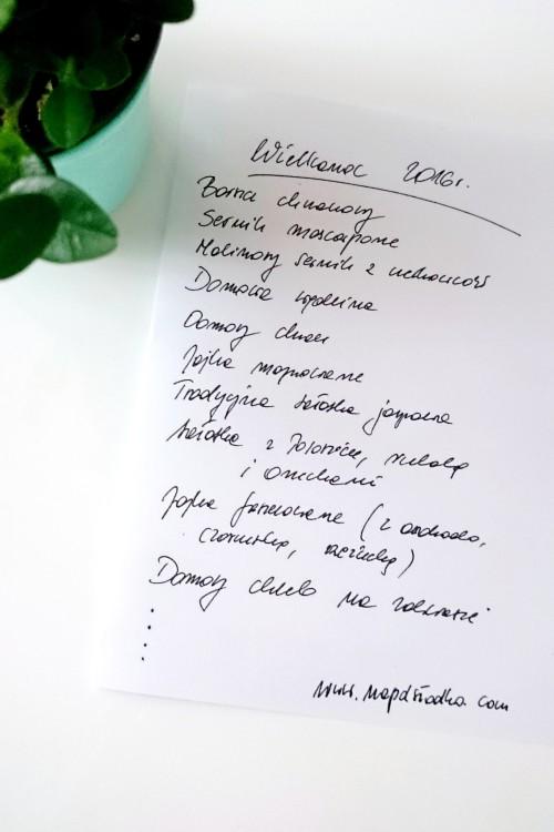 Lista menu Wielkanoc 2016